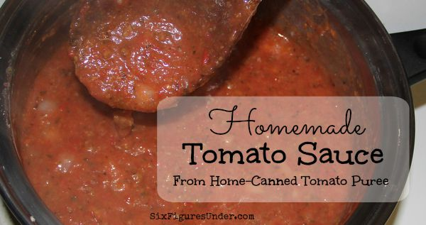 Homemade Tomatoe Sauce from Home-Canned Tomato Puree