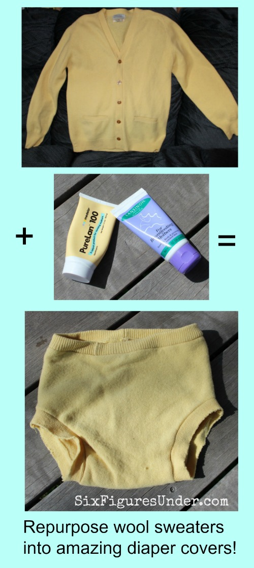 Repurpose old wool sweaters into amazing cloth diaper covers. Learn other tactics for getting cloth diapers free or cheap!