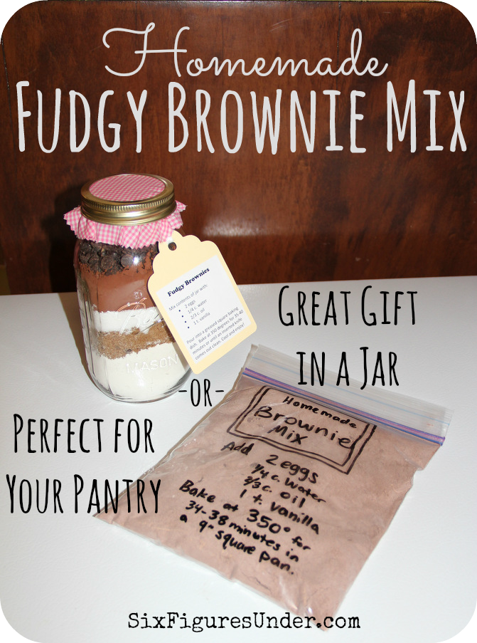Homemade brownie mixes are perfect for your pantry and layered in a jar make great gifts.  My kindergartner made these for teacher gifts.