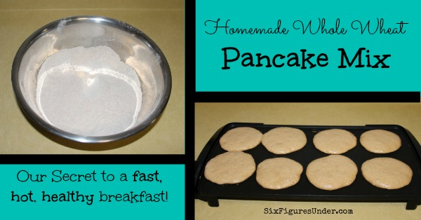 I love having my homemade whole wheat pancake mix on hand. It makes a hot and healthy breakfast so easy!