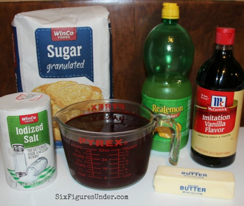 Ingredients for the most delicious blackberry syrup-- great for pancakes, waffles, ice cream, cheesecake, you name it!
