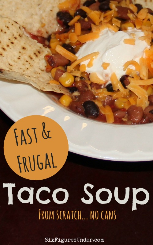 Taco soup is a favorite frugal dinner for our family. I love that it's not just a bunch of canned goods, but it's seriously just as fast. The best part is it's even cheaper and healthier than its canned good counterpart! You can add meat, but we eat it meatless.